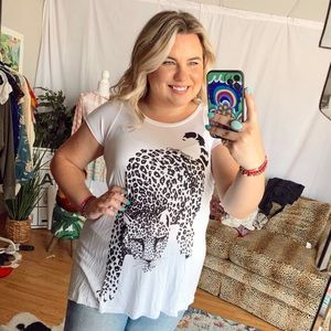 Lauren moshi black white leopard cheetah graphic tee tunic